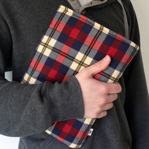 Upcycled red flannel 10 inch netbook sleeve