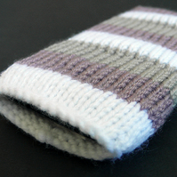 Grey, lilac and white striped iPhone sock