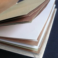 Hand bound recycled paper notebook