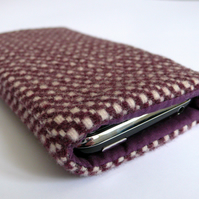 Upcycled purple and white wool iphone / phone case