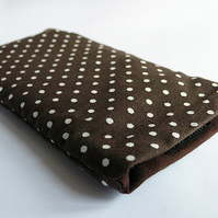 SALE! Brown polka dot iphone / phone case with velcro