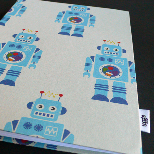 Hand bound robot print notebook
