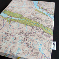 Upcycled map handbound notebook