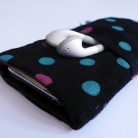 Polka dot navy blue iphone / phone case with pocket