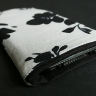 SALE! Black and pale grey flower iphone case