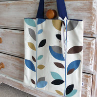 Leaf print cotton tote bag