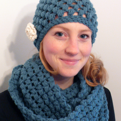 Petrol blue hat and scarf set