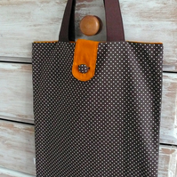 Brown polka dot tote