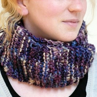 Purple, blue, pink and cream cowl neckwarmer