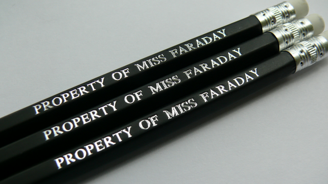 Set of 3 personalised pencils - hand stamped with the name of your choice.