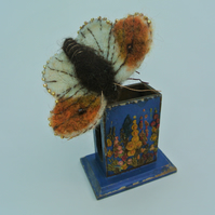 Butterfly Needle Felted Sculpture on Vintage Matchbox Holder Entomology Gift
