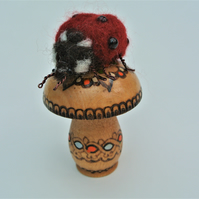 Needle Felted Ladybird on Decorated Darning Mushroom Insect Sculpture Gift Idea