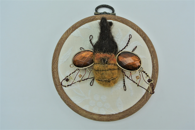 Beetle Hoop Art Needle Felted Rhino Beetle Picture with Wire and Beads Gift Idea