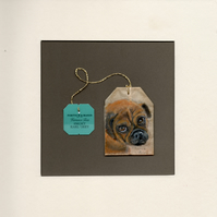 Pug Painting on a Teabag Mounted And Framed Teabag Art Dog Portrait