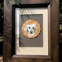 Saluki Painting on a Tea Bag Mounted and Framed Teabag Art Dog Portrait.