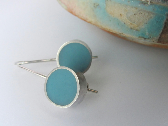 Dot Earrings - Aqua  Blue Resin Earrings