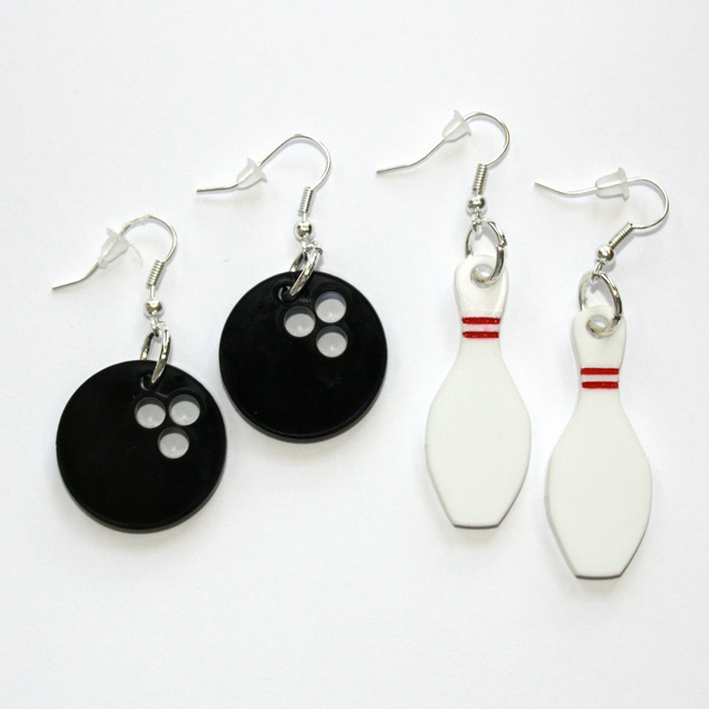 Bowling Ball and Pins Earrings