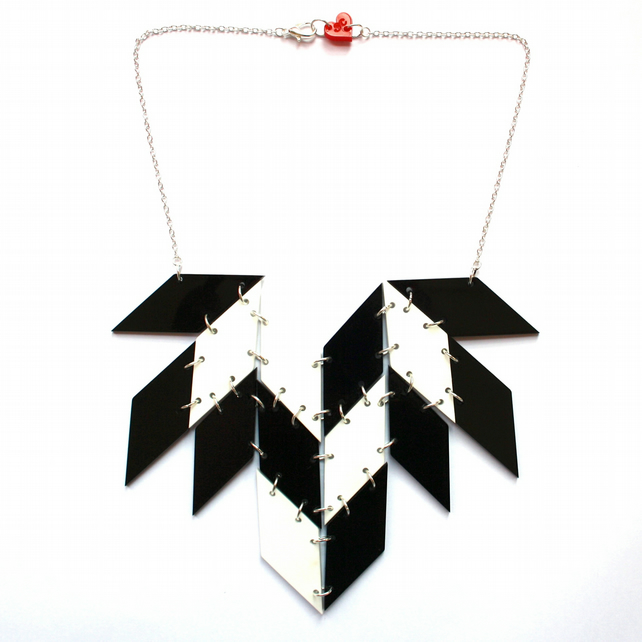 Black & White Wings Necklace