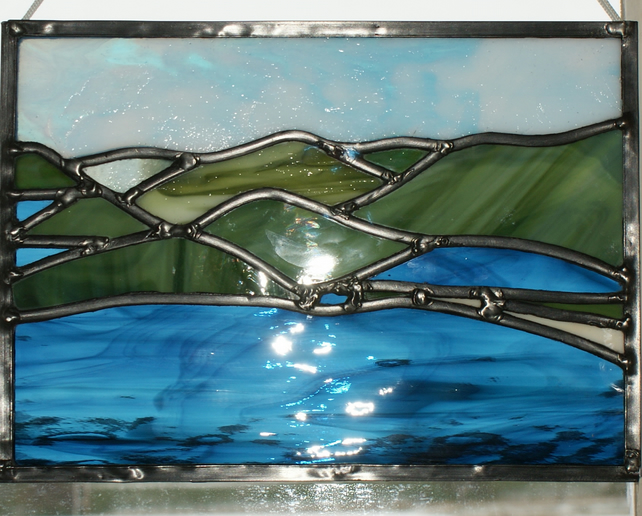sea and mountains glass panel - Reflections in Glass