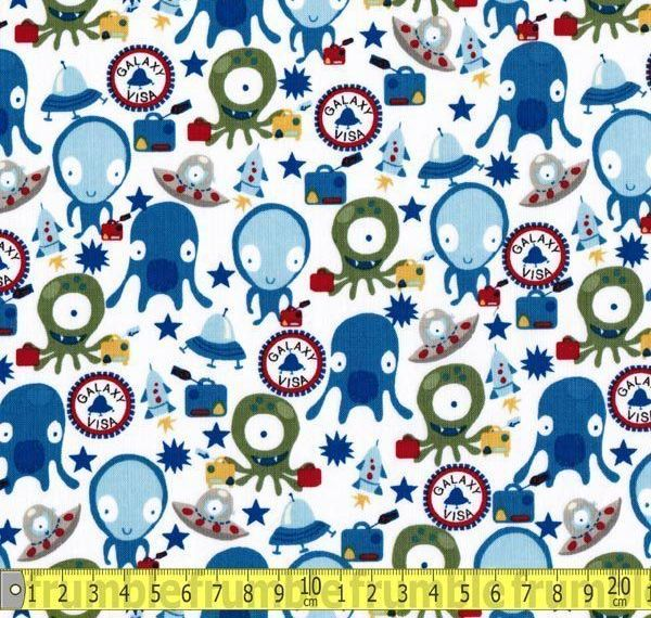 Space alien fabric galaxy visa by michael miller folksy for Alien fabric