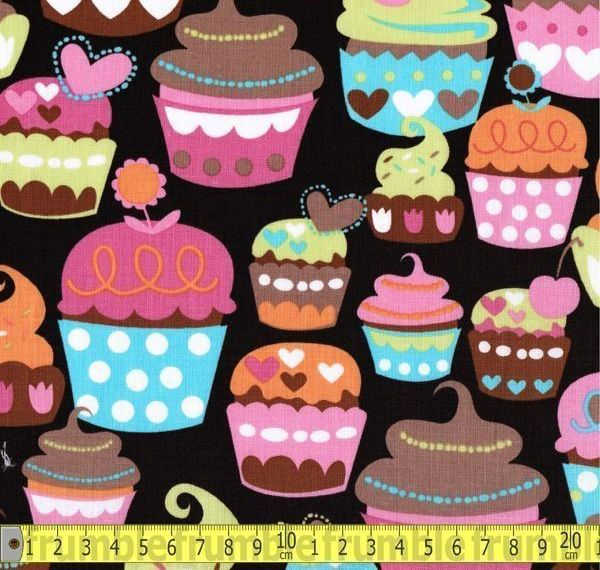 Cupcake Fabric - Sweet Treats Brown by Michael Miller