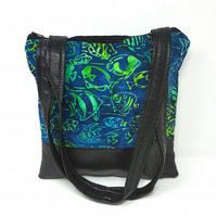 Blue & Green Batik Underwater Fish Fabric and Faux Leather Handbag, Shoulder Bag