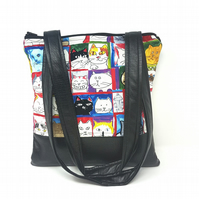 Cat Portraits Fabric and Faux Leather Handbag, Cat Lovers, Shoulder Bag