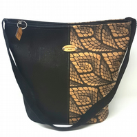 Cork Leather Bucket Bag, Black with Black and Natural Feathers Print, Handbag