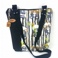 SAMPLE SALE Panda Cork Leather & Cotton Fabric Vegan Eco Friendly Handbag