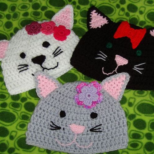 Crochet Kitty Cat Hat Pattern - Folksy