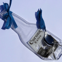 Melted Slumped Corona Extra  Bottle Spoon Rest with RIbbon
