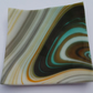 Small Clear White Brown Orange Green Pattern Swirly Trinket Glass Fused Dish