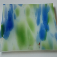 Small White Green Blue Pattern Trinket Glass Fused Dish