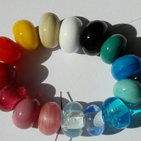 Set of 15 Multi Colour Handmade Lampwork Spacer Beads