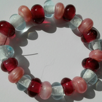 Set of 24 Pink Cranberry and Light Blue Handmade Lampwork Spacer Beads