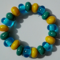 Set of 21 Yellow Turquoise and Petrol Green Handmade Lampwork Spacer Beads