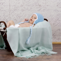 Crochet Newborn Baby Ear Flap Hat & Diaper Cover Set, photography prop
