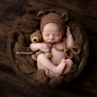 Crochet Baby Newborn Bonnet Bear Hat and Teddy Bear Toy Set Photo Prop Christmas
