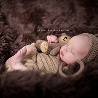 Christmas Crochet Baby Newborn Bonnet Bear Hat and Teddy Bear Toy Set Photo Prop