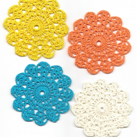 Set Of 4 Crochet Doilies Crochet Medallions Assortment Mini Doily Boho Crafts