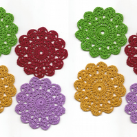 Set Of 8 Crochet Doilies Crochet Medallions Assortment Mini Doily Boho Crafts