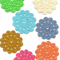Set Of 7 Crochet Doilies Crochet Medallions Assortment Mini Doily Boho Crafts
