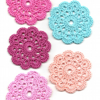 Set Of 5 Crochet Doilies Crochet Medallions Assortment Mini Doily Boho Crafts