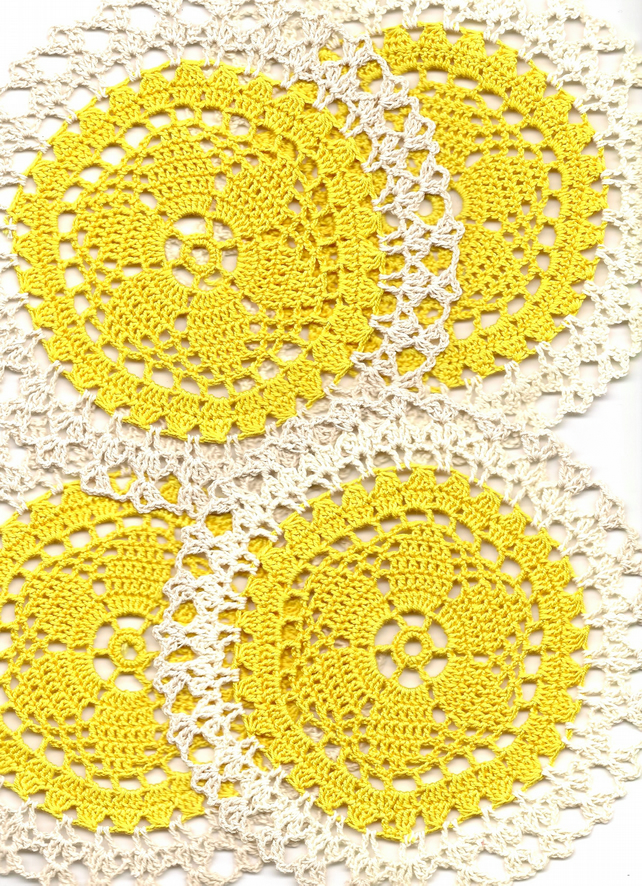 Set Of 4 Crochet Doilies Cotton Doily Kitchen & Home Decor Eco Friendly Coasters