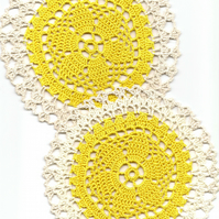 Set Of 2 Crochet Doilies Cotton Doily Kitchen & Home Decor Eco Friendly Coasters