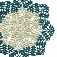 Crochet Doilies Cotton Doily Wedding & Home Decor Eco Friendly Tablecloth Teal