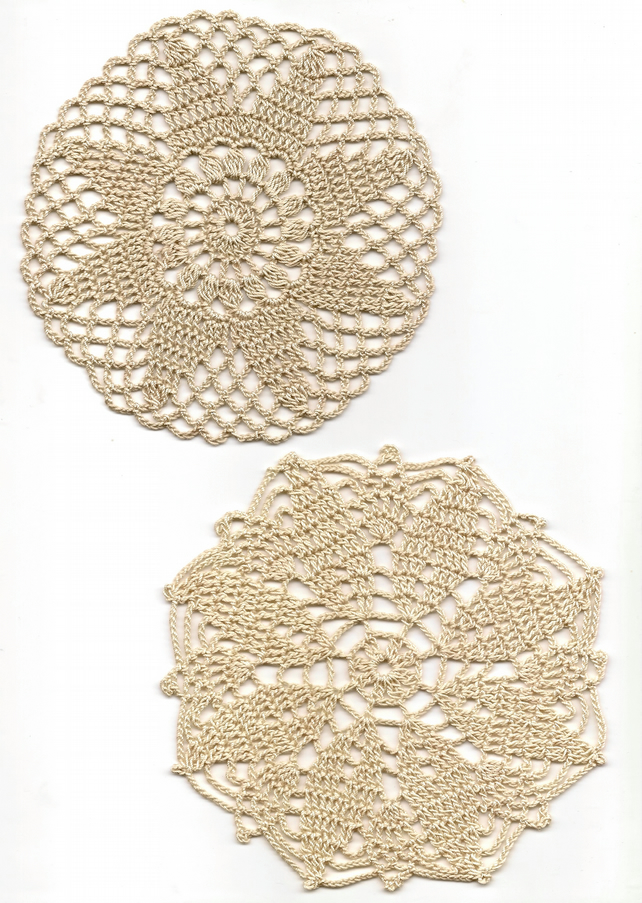 Set Of 2 Crochet Doilies Cotton Doily Wedding Decor Table Centerpiece Rustic