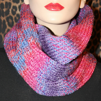 Hand made knitted women cowl hood infinity scarf neck warmer snood shawl purple