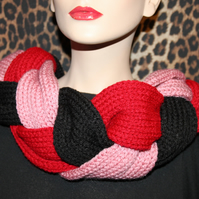 Hand made knitted women braid cowl hood infinity scarf neck warmer snood shawl