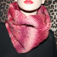 Hand made knitted women cowl hood infinity scarf neck warmer snood shawl pink